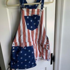 American flag overalls
